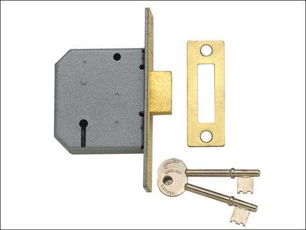 PM322 3 Lever Mortice Deadlock Polished Brass 79mm 3in