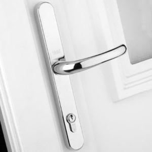 Retro Door Handle PVCu Polished Chrome Finish