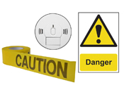 Safety Signs, Smoke Detector and Caution Tape