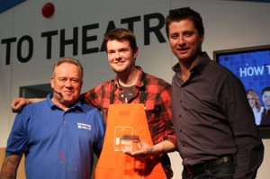 George Clarke and Mike Edwards presenting the DIY Dad of the Year award at the Ideal Home Show