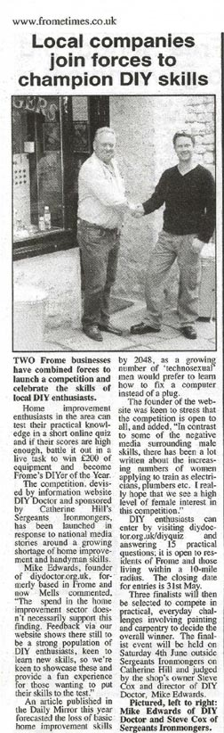 FromeTimes28.041 Local DIY Competition features in the news