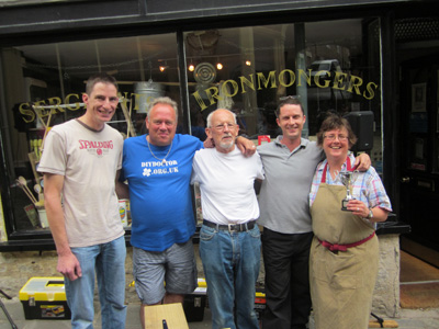(L to R) Matthew Rees, Mike Edwards (DIY Doctor), Clive Baker, Steve Cox (Sergeants Ironmongers), Fay Goodridge