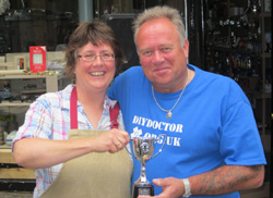 Frome DIYer of the Year winner Fay Goodridge with DIY Doctor Mike Edwards