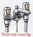 Three hole mixer tap