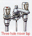 Three hole mixer tap