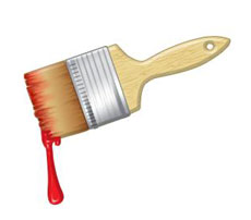 Paint brush with dripping red paint