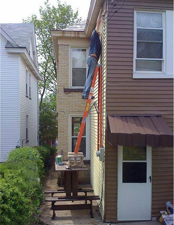 How not to use a ladder around the home