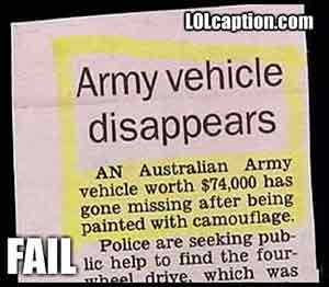 army vehicle disappears in Australia