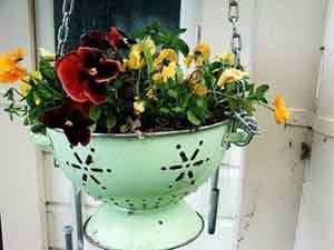 Enamel colander hanging planter