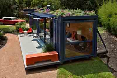 Transformed shipping container