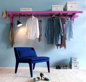 Painted Ladder upcycled into a Clothes Rack