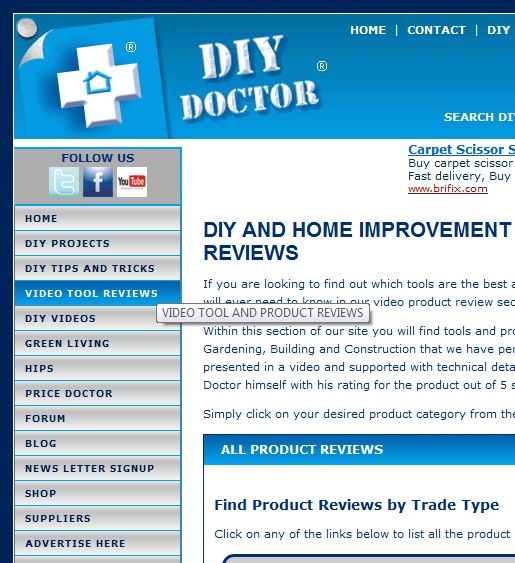 Finding tool reviews on DIYDoctor