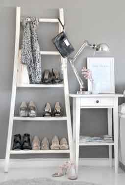 White wooden shoe rack Made from an old ladder