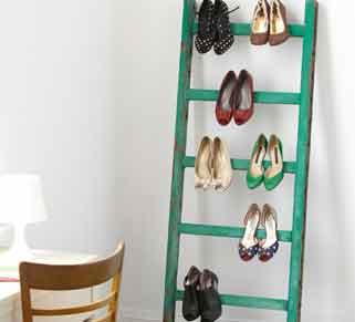 Simple Ladder Shoe Rack Painted Green