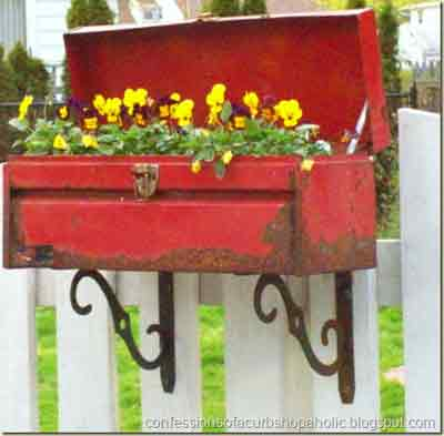 Recylcled old toolbox turned into a planter