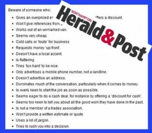 Northampton HeraldPost 300x263 Astonishing advice on avoiding Cowboy Builders from local paper