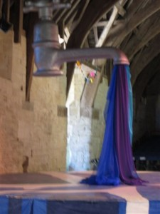 Giant hovering tap in Tithe Barn Bradford on Avon