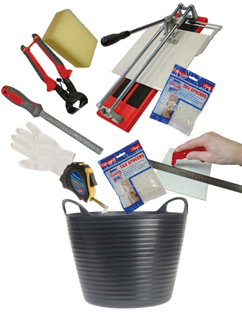 DIY Doctor bargain bucket of tools for tiling