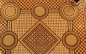 Geometric patterned floor tiles
