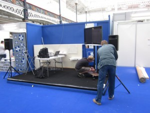 DIY Doctor team setting up the stand at Olympia
