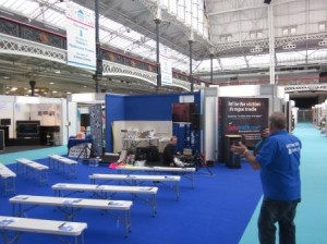 DIY Doctor Setting up the Tricks of the Trade Theatre at the National Homebuilding Show