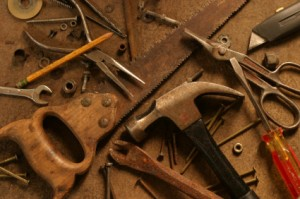 Old fashioned toolbox of rusting tools