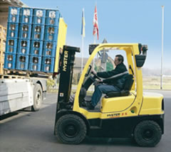 Driving a forklift truck
