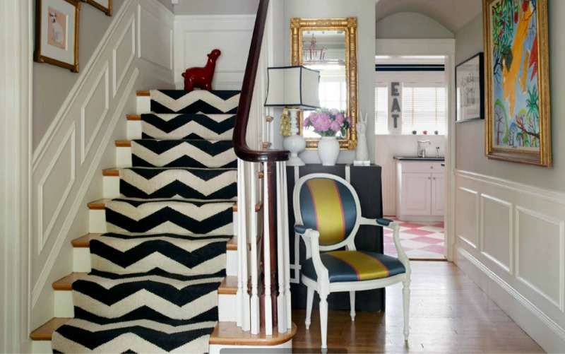 Bold Geometric Stair Carpet Black and White Chevrons