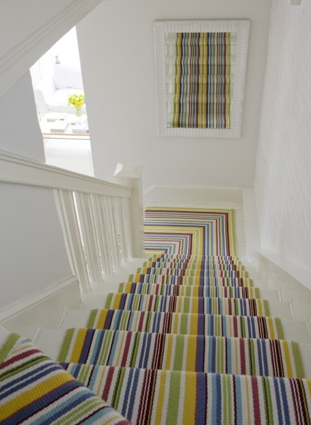 Bright Striped Stair Runner
