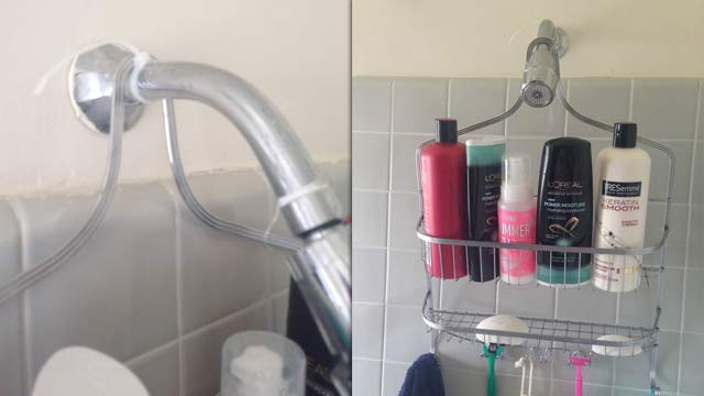 Cable Tie Holding a Bathroom Caddy