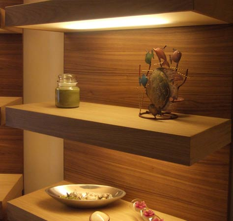 Floating shelves with under-lighting
