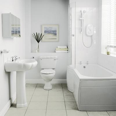 White bathroom suite in bathroom