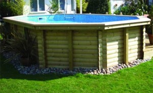 Timber-clad above ground swimming pool