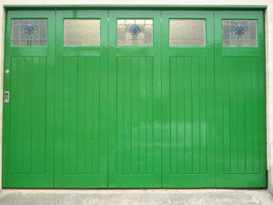 Freshly painted wooden garage door