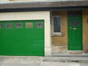 Completed wooden garage doors