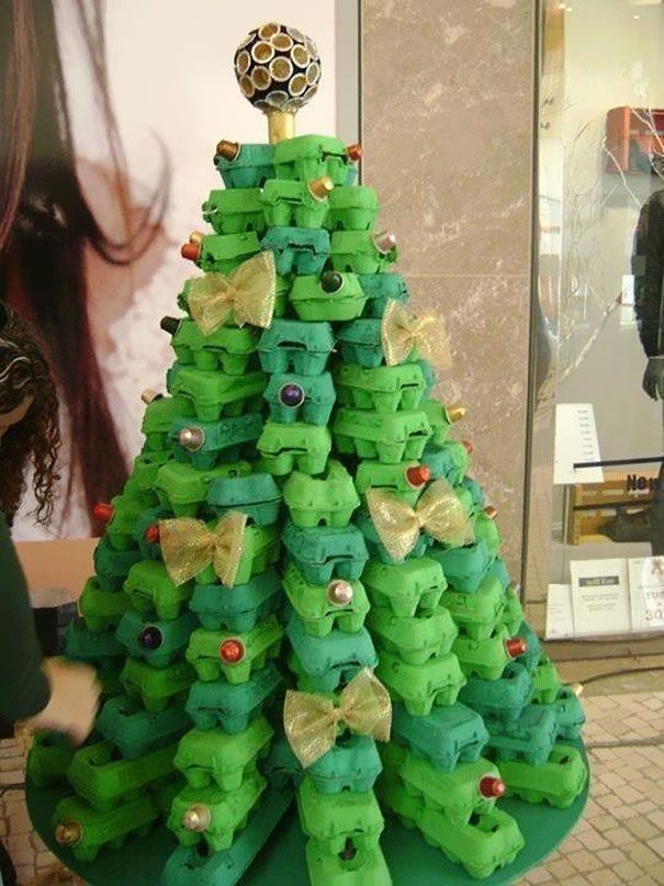Christmas Tree made from Egg boxes