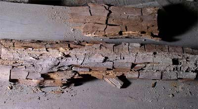 Dry rot causing timber to crumble