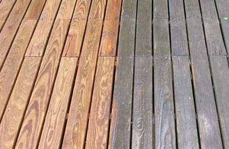 Cleaning old decking
