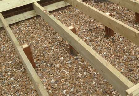 Posts and support beams for decking frame