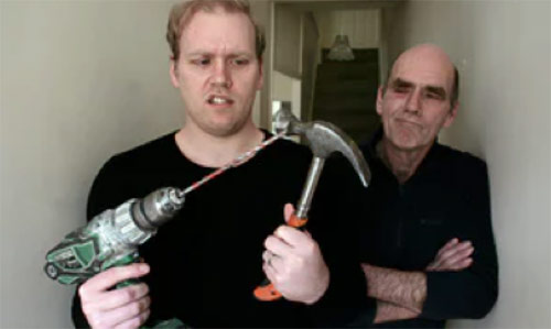 Father teaching son DIY