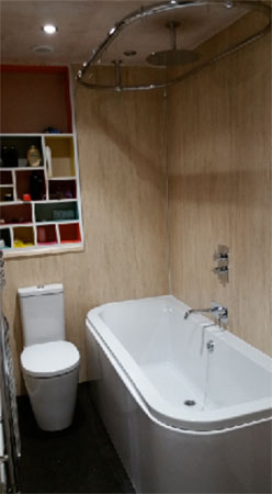 Panelled bathroom wall