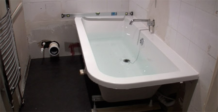 Toilet and basin removed and ready