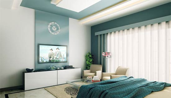 Bedroom feature wall with TV