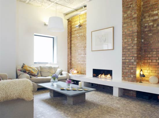 Exposed brick living room feature wall