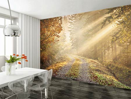 Woodland image feature wall