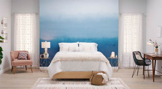 Bed headboard feature wall