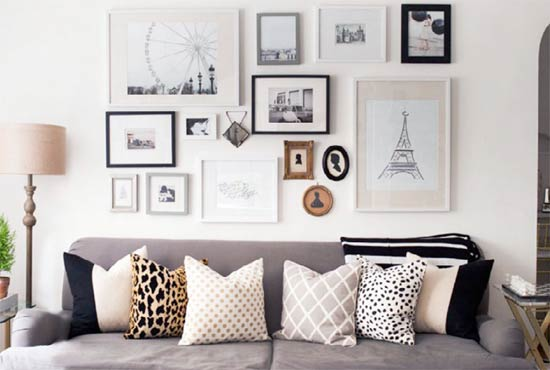 Photo frame feature wall in living room
