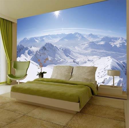 Mountain range feature wall image