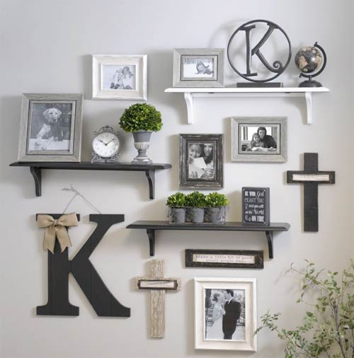 Photo frames and shelves