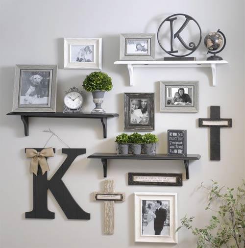 Photo frames and shelves